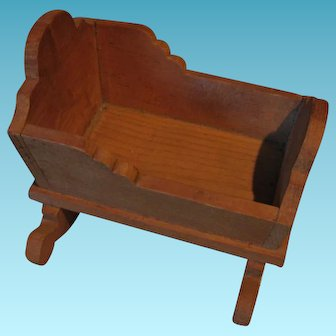 Little Wooden Cradle for Small Dolls