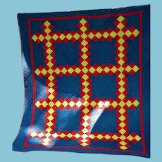 Antique Irish Chain Quilt Indigo Blue Red and Yellow Calico