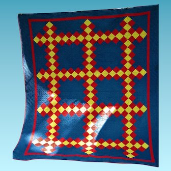 Antique Irish Chain Quilt Indigo Blue Red and Yellow Calico