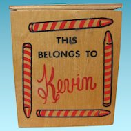 Vintage Wooden Crayon Box for Kid Named Kevin