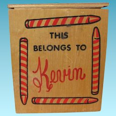 Vintage Wooden Crayon Box for Kid Named Kevin