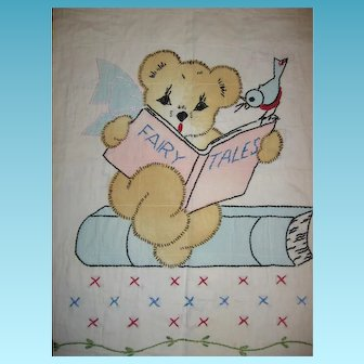 Adorable Vintage Crib Quilt Bear Reading Fairy Tale Book