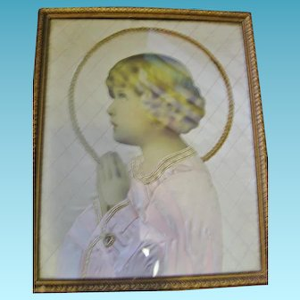 One of A Kind Framed Praying Child Wall Art for Childs Room or Nursery