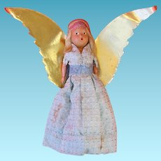 Vintage Handcrafted Composition Angel Tree Topper