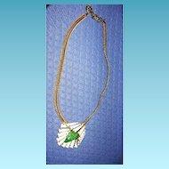 Schreiner Signed Necklace Keystone and Art Glass Flower Beauty