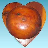 Hand Crafted Heart Shaped Wooden Trinket Box for Valentines Day