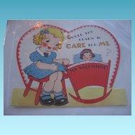 Vintage Valentine Little Girl Rocking Her Dolly in Cradle