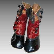 Antique Red and Black Hightop Button Baby Shoes with Tassels