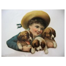 Cute Lithograph Boy with 3 Pups from Late 1800s Scotts Emulsion Advertising Calendar