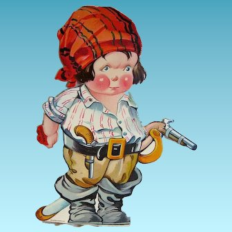 Vintage Charles Twelvetrees Mechanical Pirate Valentine Card