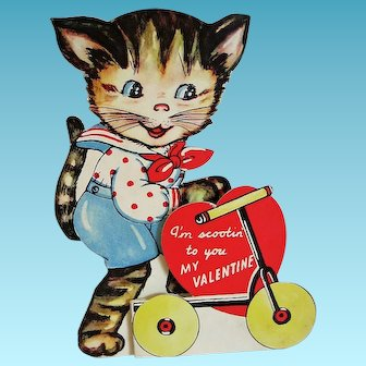 Vintage Valentine with Kitten on a Scooter