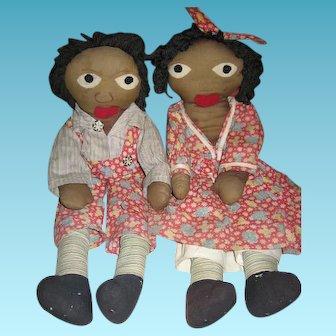 Rare Little Black Sambo & Miranda Handmade Black Rag Dolls from the 1940s