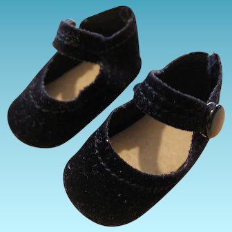 Vintage Black Suede Type Doll Shoes with Snap Strap NOS