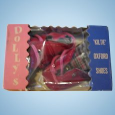 NOS 1950s Era Red Doll Shoes in Original Box