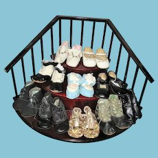 Antique and Vintage Baby Shoes 9 Pair Collection for Dolls or Display