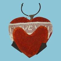Antique Handmade Velvet Valentine Missive of Love Keepsake