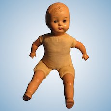 1930s Era Composition and Cloth Baby Doll Has Headache Needs TLC