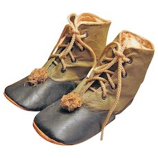 Early 1900s Babys Hightop Two Tone Shoes or Boots with Pom Poms