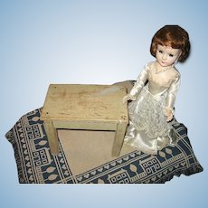 Vintage Handmade Wooden Doll Table for Display
