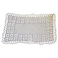 Vintage White Crocheted Rectangular Doily with Design