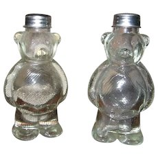 Vintage Clear Glass Bear Salt and Pepper Shakers