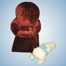 Vintage Handmade Velvet Chair Pin Cushion Sewing Caddy or Ginny Chair