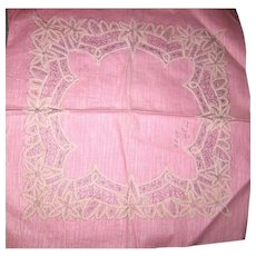 Old Cloth Fabric Pattern Work in Progress for Handmade Lace Wedding Hankie