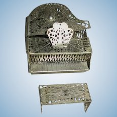 Old Miniature Metal Filigree Baby Grand Piano for Dollhouse
