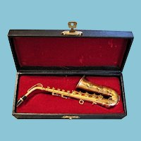 Vintage Miniature Saxophone in Original Case for Doll Bear or Music Display