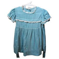 Vintage Blue Dotted Swiss Baby Dress and Matching Bonnet