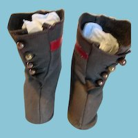 Two Toned Gray and Red Leather Doll Boots for Your Antique Doll