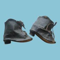 Vintage Black Oilcloth Hightop Heeled Doll Shoes