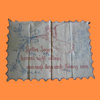 Antique Redwork and Blue Stitching Angel Pillow Cover or Linen