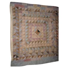 Antique Uniquely Designed Mennonite Made Crib Quilt with Browns Blues and Greens