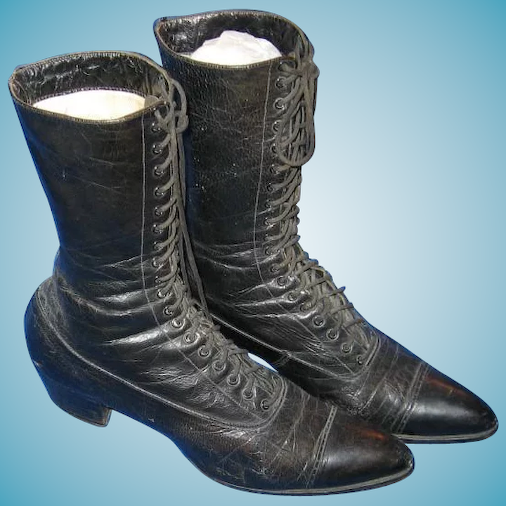 cheap entire collection attractive price Ladies Black Leather Victorian Lace Up Boots or Shoes