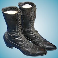 Ladies Black Leather Victorian Lace Up Boots or Shoes