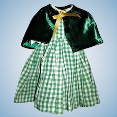 Vintage Green and White Checked Doll Dress with Green Velvet Cape