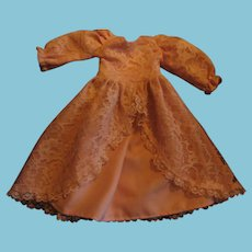Vintage Pink Lacy Doll Dress with Slip Pantaloons and Bonnet