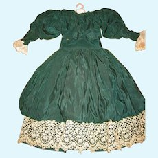 Fancy Handmade Doll Outfit Skirt with Top and Bonnet Signed by Maker