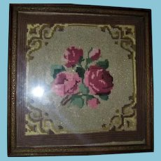 Vintage Needlepoint Framed Floral with Metallic Threads Beauty