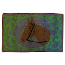 Wonderful Hand Hooked Rug Featuring a Horse in the Winners Circle