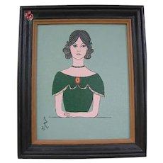 Framed Vintage Folk Art Girl Painting by Lititz Artist M Kegel