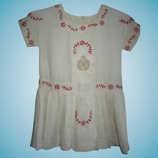 Antique Childs Linen Dress with Fancy Red Stitched Accents