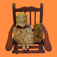 Nippon Bisque Miniature Doll and Itsy Bitsy Bear