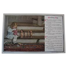 Dolly Mending Day Postcard with Little Girl and Dolls