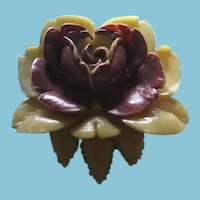 Large Celluloid 3 Dimensional Rose Shaped Button