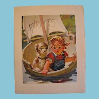 Adorable Vintage Boy and Pup Lithographed Hankie Card