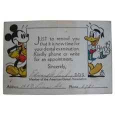 1930s Mickey Mouse and Donald Duck Reminder Card for Dentist