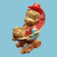 Whimsical Vintage Cowboy on Horse Squeak Toy