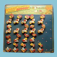 Vintage Counter Display with Wooden Nodder Animal and Duck Brooches